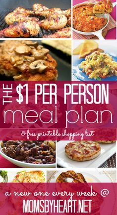 Need some ideas for inexpensive meals for your family Check out this 1 Per Person Shopping List Meal Plan from Moms by Heart Cheap Easy Meals, Inexpensive Meals, Cheap Dinners, Frugal Meals, Budget Meals, Quick Meals, Budget Recipes, Freezer Meals, Cheap Recipes