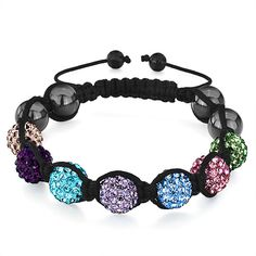 Pugster Shamballa Bracelet Colorful Disco Ball Heidan Beads