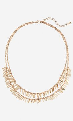 double row metal fringe necklace