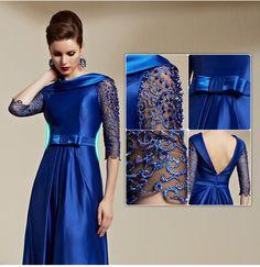 Blue Beading Lace Beading Half Sleeve Backless Bow Belt Train Long Dress 30816 - Coniefox - Bridesmaids?