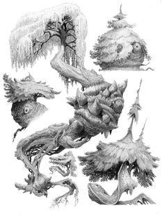 Tree sketches by Nicolas Weis on ArtStation. Landscape Concept, Fantasy Landscape, Landscape Art, Fantasy Art, Landscape Drawings, Environment Concept, Environment Design, Alien Plants, Tree Sketches