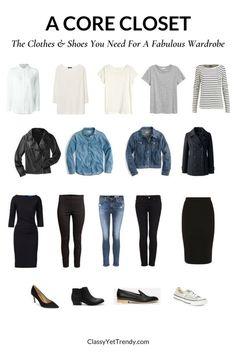 A Core Closet - 18 Clothes and Shoes Minimal Wardrobe, Core Wardrobe, Simple Wardrobe, Classic Wardrobe, Wardrobe Basics, New Wardrobe, Capsule Wardrobe, Basic Wardrobe Essentials, Wardrobe Ideas