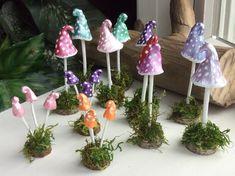 Fairy Mushroom Hand Sculpted Hand Painted Three Mushrooms