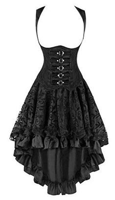 Kimring Women's 2 Pcs Steampunk Gothic Underbust Corset with Lace Dancing Skirt Set Black X-Large