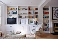 Rehab Diary, Part A Small House Overhaul in London, Lessons Learned - Remodelista Victorian Terrace Interior, Living Room Decor, Living Spaces, Living Area, Living Rooms, Bookshelves Built In, Built Ins, Book Shelves, Bookcases