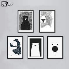 Cartoon Polar Bear Animal Nordic Art Canvas Poster Minimalist Print Black White Wall Picture for Modern Home Kids Room Decor 117-in Painting & Calligraphy from Home & Garden on Aliexpress.com | Alibaba Group