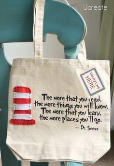 Dr.suess bag for library books! OMG this is adorable! We have already broke the handles of 2 reusable shopping totes :/