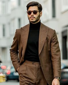 """thebespokedudeseyewear: """"Great style for wearing our iconic amber tortoise frame with tobacco lenses, available at Ph: (at Malmö,. Turtleneck Suit, Graduation Suits, Prom For Guys, Blazer Outfits Men, Turtle Neck Men, La Mode Masculine, Prom Outfits, Street Style, Well Dressed Men"""