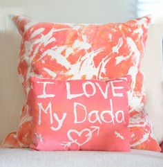 Fabric Resist Art - How to make resist art pillows - fun idea to give to Daddy for Valentines Day! Great Father's Day Gifts, Simple Gifts, Gifts For Kids, Christmas Presents For Teachers, Christmas Toys, Easy Art Projects, Projects For Kids, Kids Crafts, Creative Crafts