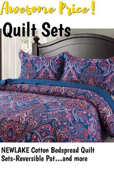NEWLAKE Cotton Bedspread Quilt Sets-Reversible Patchwork Coverlet Set, European Classic Floral Pattern, King Size ... (This is an affiliate link) #quiltsets
