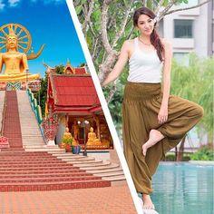 """A riqueza da simplicidade. Posta ao lado do Muang Boran (maior museu a céu aberto do mundo em Bangkok) e do Wat Phra Yai (o famoso """"Big Buddha Temple) a nossa Calça Clássica até parece simples mas não é. Sua riqueza está exatamente na enorme versatilidade que ela tem em complementar todo tipo de look dos básicos aos requintados. E você usaria ela com o que? #calcathai #calcaclassica #muangboran #modafeminina #modatailandesa #simplicidade #versatilidade"""