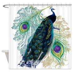 Peacock curtain - potential for living room? Amazon.com - CafePress Vintage Peacock Bird Feathers Etchings Elegant