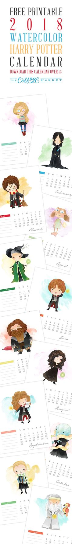 Free Printable 2018 Watercolor Harry Potter Calendar