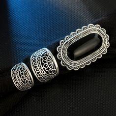 Vintage Silver Big Black Rhinestone Rings – Monaca Beauty Black Rhinestone, Big Black, Vintage Silver, Silver Rings, Belt, Pattern, Accessories, Jewelry, Belts