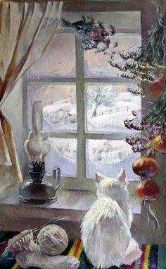 Painting of cat in the window. The Winter Window