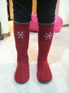 Sweater boots made from old shoes and a hand me down sweater!
