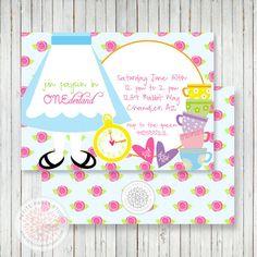 Alice in Wonderland Inspired Printable Birthday Party Invitation - Petite Party Studio