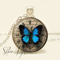 Steampunk Blue Clock Butterfly Glass Photo Pendant and Silver Necklace by ChicBridalBoutique on Opensky