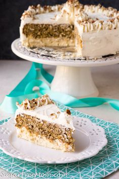 This beautiful Low Carb Keto Carrot Cake is layered between creamy cheesecake and cream cheese frosting! This pretty cake is Nut Free Gluten Free and Grain Free. Low Carb Cake, Low Carb Carrot Cake, Low Carb Sweets, Low Carb Desserts, Low Carb Keto, Low Carb Recipes, Carrot Cakes, Diabetic Desserts, Keto Cake