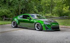 Toyota GT86, low rider, 2017 cars, tuning, green GT86, japanese cars, Toyota