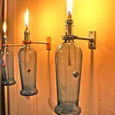 Hanging Oil Lamps, Tiki Torches, & Wall Vases by GreatBottlesofFire Bottle Torch, Bottle Art, Blue Bottle, Oil Bottle, Vodka Bottle, Liquor Bottles, Bottles And Jars, Empty Bottles, Cut Bottles