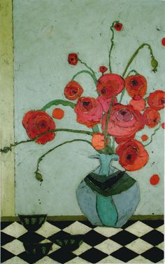 Poppies in Urn on Tile