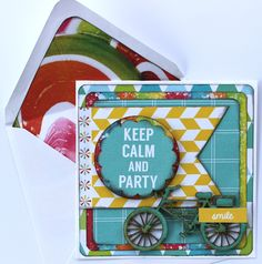 'Keep Calm and Party' Boy card by Alison Bevis (Kaisercraft Pop Collection) card square wp  - Cards 1.