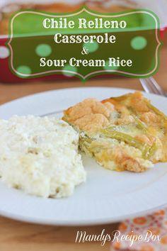 recip box, chile relleno casserole, ground beef, chile rellenos casserole, sour cream rice