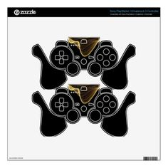Gold Ribbon Abstract on Black Background Skin For PS3 Controller - retro gifts style cyo diy special idea