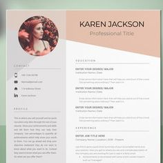 Resume Template 3 Page CV Template Cover Letter / Instant | Etsy Modern Resume Template, Creative Resume Templates, Cv Template, Resume Writing Tips, Resume Tips, Resume Skills, Free Resume, Cover Letter Template, Letter Templates