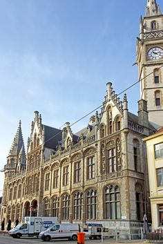 Old Post Office building located near de riverfront in Ghent_ Belgium