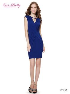 Ever Pretty Keyhole Cutout Ruched Waist Royal Blue Cocktail Dress - Ever-Pretty US