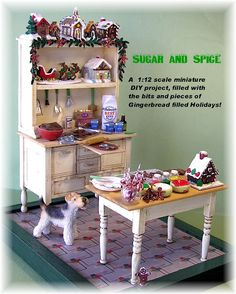 Sugar and Spice miniature project from DIY Dollhouse Miniatures Dollhouse Miniature Tutorials, Miniature Crafts, Miniature Christmas, Christmas Minis, Diy Dollhouse, Miniature Dolls, Dollhouse Miniatures, Miniature Kitchen, Miniature Food