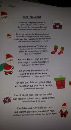 Christmas poem of Nikolaus poem advent . - christmas poem Nicholas poem saying christmas poem Nicholas poem Yo - Christmas Poems, Christmas And New Year, Winter Christmas, Christmas Crafts, Xmas, Kindergarten Portfolio, Diy Crafts To Do, Event Planning, Songs