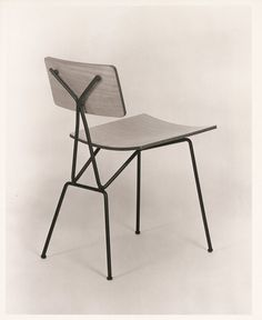 Tony Paul; Enameled Metal and Laminated Plywood Chair, 1950s.