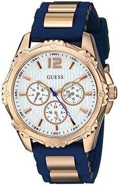 Women's Wrist Watches - GUESS Womens Sporty MultiFunction Comfortable Navy Blue Silicone Strap Watch * Find out more about the great product at the image link. Best Watch Brands, Luxury Watch Brands, Luxury Watches For Men, Casual Watches, Cool Watches, Guess Watches, New Blue, Zeina, Swiss Army Watches