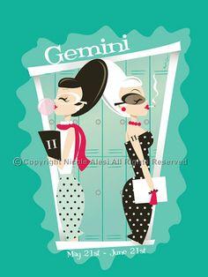 Gemini - Retro Zodiac Magnet. $3.00, via Etsy.