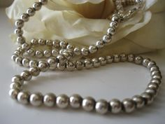 Stunning Vintage Sterling Silver Beads Necklace 925 Italy