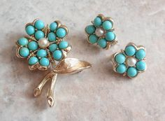 Aqua-Fleur Earrings Brooch Sarah Coventry Turquoise by cutterstone