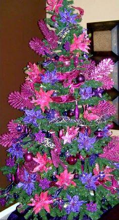 . Pink and Purples Poinsettias Christmas Tree