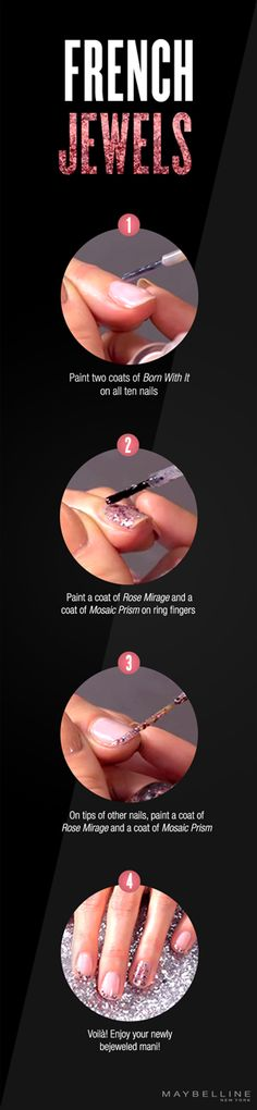 Bling is back. Try this dazzling French tip mani with our new Color Show Jewels collection.