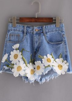 Light Blue Boho Floral Embroidered Frayed Denim Shorts