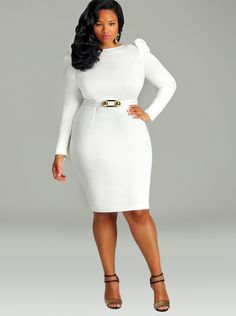 """Lexa"" High Shoulder Dress with Removable Belt - Ivory - What's New - Monif C"