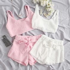 Cute Lazy Outfits, Pretty Outfits, Cool Outfits, Pajama Outfits, Crop Top Outfits, Girls Fashion Clothes, Teen Fashion Outfits, Cute Pajama Sets, Pj Sets