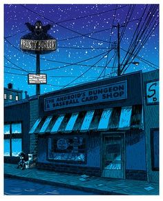 Austin-based artist Tim Doyle's illustrations of Springfield from The Simpsons