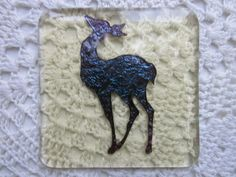 Handmade fused glass coaster - copper deer on pale amber tint £8.00