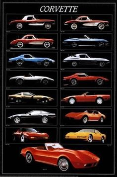 Vintage Cars Muscle Chevrolet Corvette Sports Car Poster – BananaRoad - A spectacular poster of various models of the iconic Chevy Corvette from 1957 to An American classic. Need Poster Mounts. Chevrolet Corvette Stingray, 1961 Corvette, Us Cars, Sport Cars, Bmw Classic Cars, Classic Corvette, Classic Chevrolet, Car Posters, Vintage Bicycles