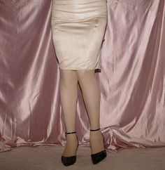 Visible Garter Bumps Under Beige Half Slip Sheer Stockings and Black Ankle Strap High Heels
