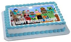 "MINECRAFT5 Edible Cake, Cupcake, Topper, Decor 10x16""inch or 10"" round"