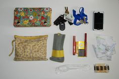 Just keeping it real, yo. I need a bag that will hold these goodies and keep them organized.    This is what was in my purse when I dumped it. See notes for details.